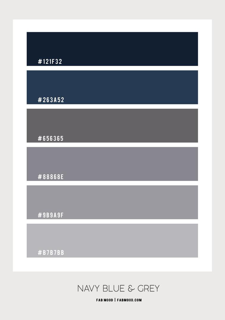 navy blue and grey, color scheme, navy blue and grey color combos, dark blue colour scheme #colorpalette #colorscheme