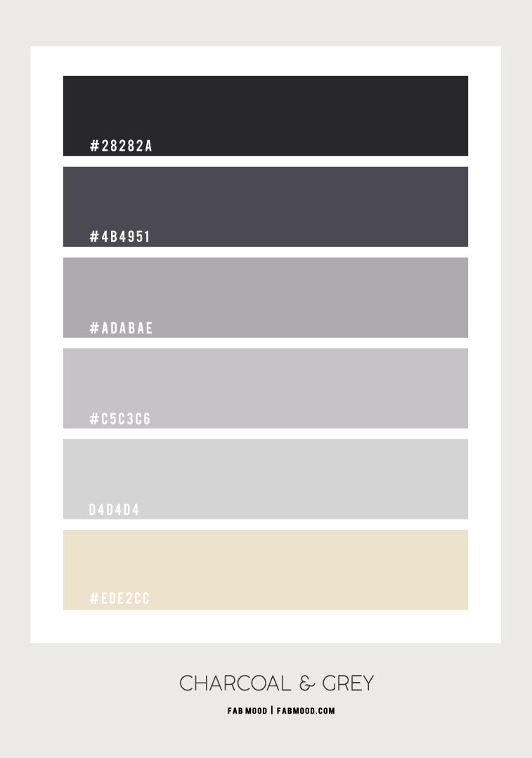 charcoal and grey, charcoal and grey color combo, grey color combination, dark grey and light grey, color palette, color inspiration, color scheme