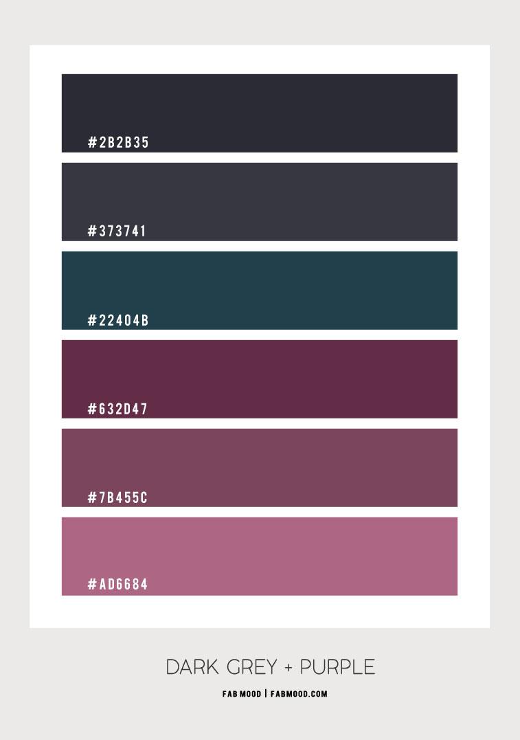 dark grey, purple, dark grey and purple color combo, dark grey and purple color scheme, purple and teal color scheme #colorpalette #colorideas #colorscheme