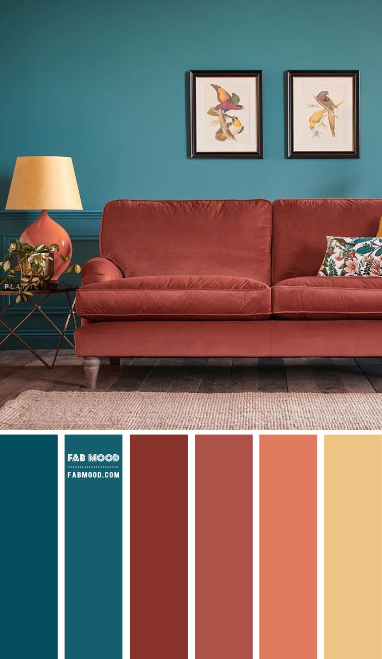 Brick and Teal Living Room Colour Scheme