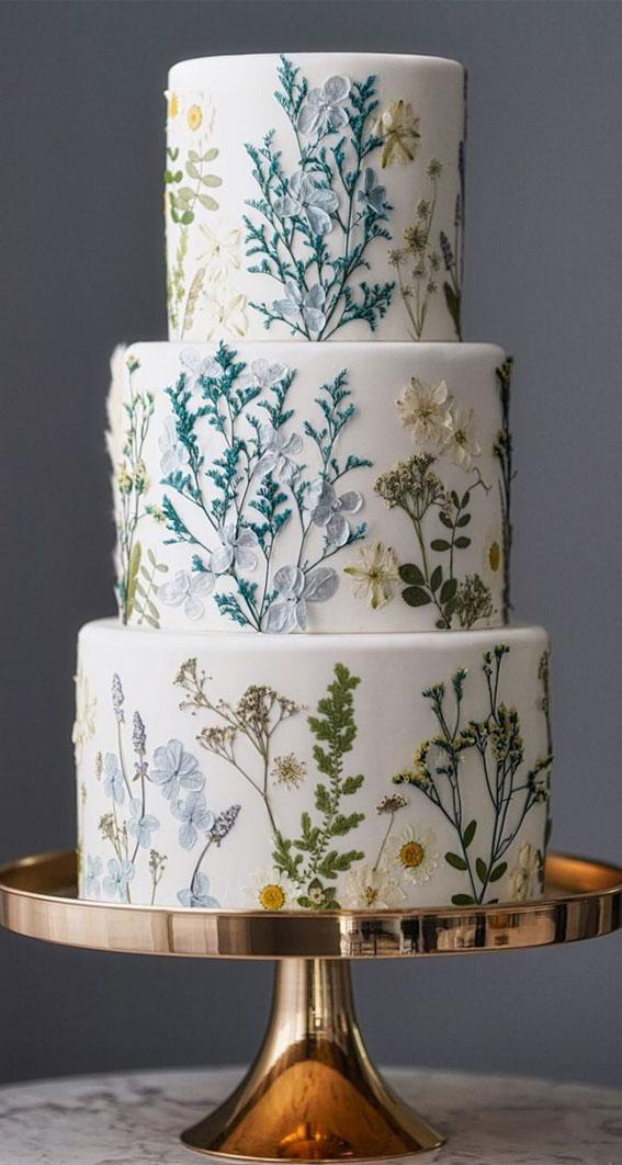 buttercream wedding cake, hand painted wedding cake, wedding cake, floral painted wedding cake, wedding cakes 2020