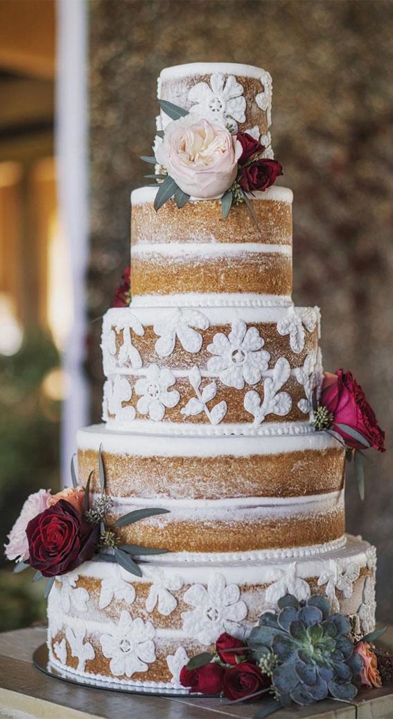 modern elegant naked wedding cake, modern naked wedding cake, lace buttercream naked wedding cake