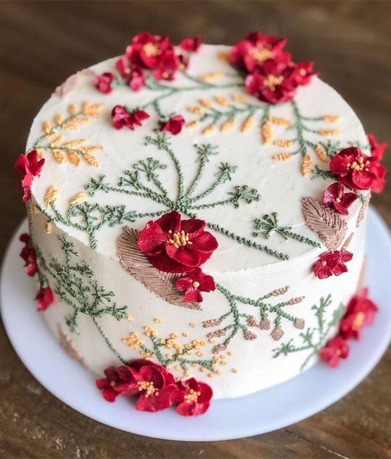 floral painted cake, autumn colored floral painted cake , hand painted cake #handpaintedcake