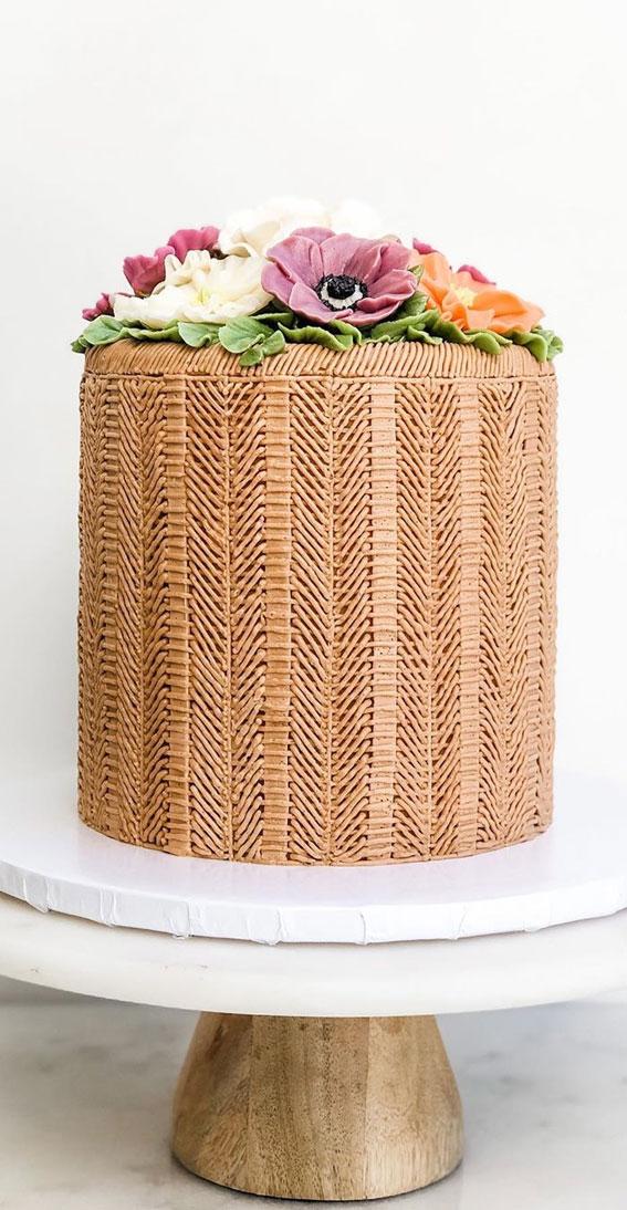chevron cake, floral painted cake, chevron basket floral painted cake , hand painted cake #handpaintedcake piping cake ideas