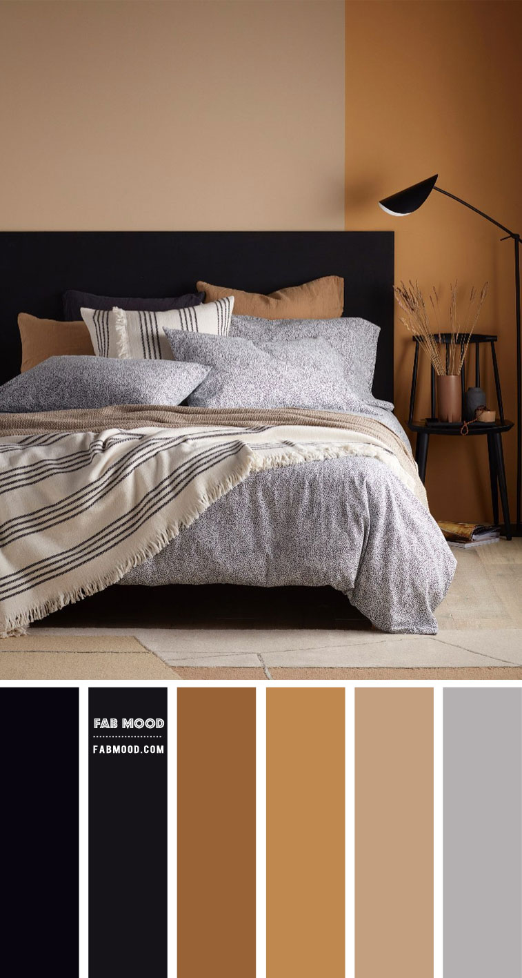 Black and Earth Tone Bedroom Colour Idea