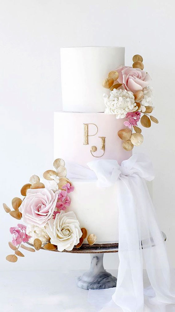 These 50 Beautiful Wedding Cake Designs You Will Be Blown Away : pink & gold