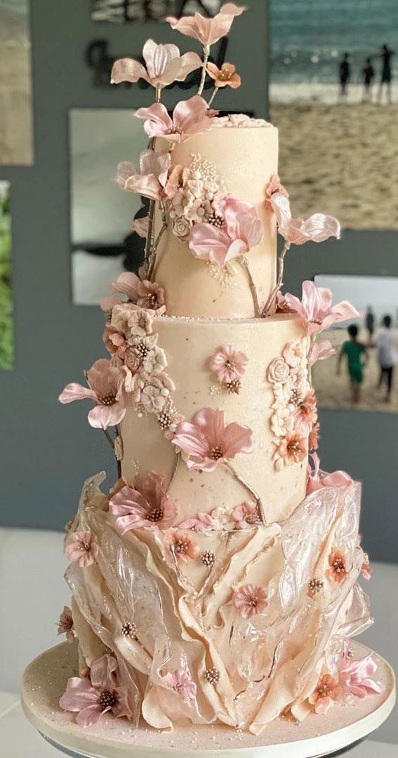 These 50 Beautiful Wedding Cake Designs You Will Be Blown Away : soft pink