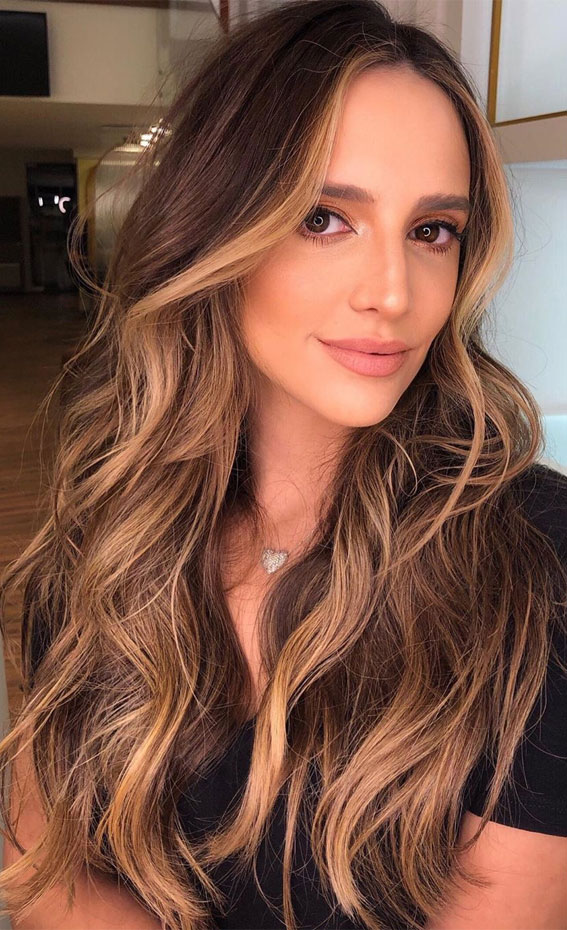 15 chocolate brown hair color with caramel highlights
