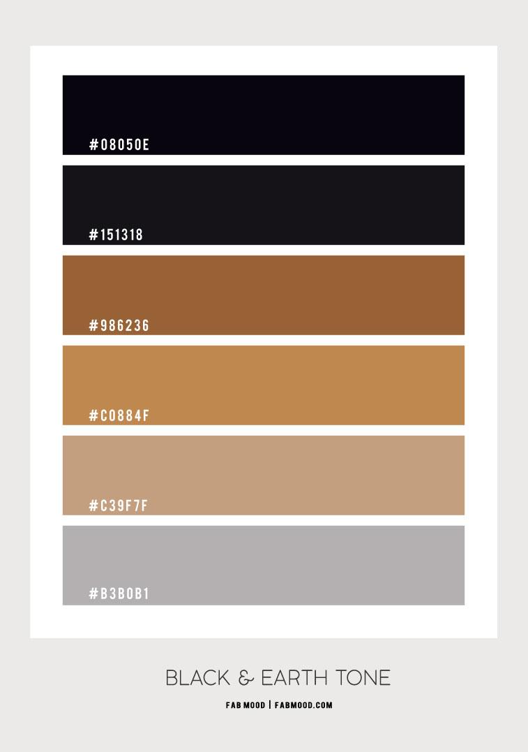 black and earth tone color scheme, earth tone color ideas, earth tone bedroom color scheme, black and earth tone, black and brown, black and brown color combo #color #earthtone