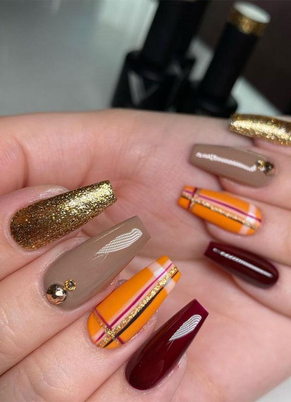 burgundy gold plaid nails, mix and match nail colors, fall nail art designs, fall nail ideas #fallnails #fallnailart #fallnailcolors