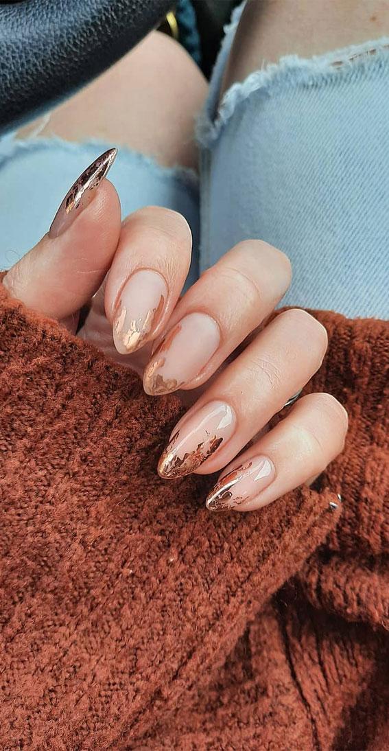copper nude nails, fall nail designs 2020, autumn nail designs 2020, gel nail designs for fall, nail art designs 2020 #nailartdesigns #naildesigns fall nail colors 2020 #fallnailideas fall 2020 nail trends, fall 2020 nail color trends, gel nail designs for fall