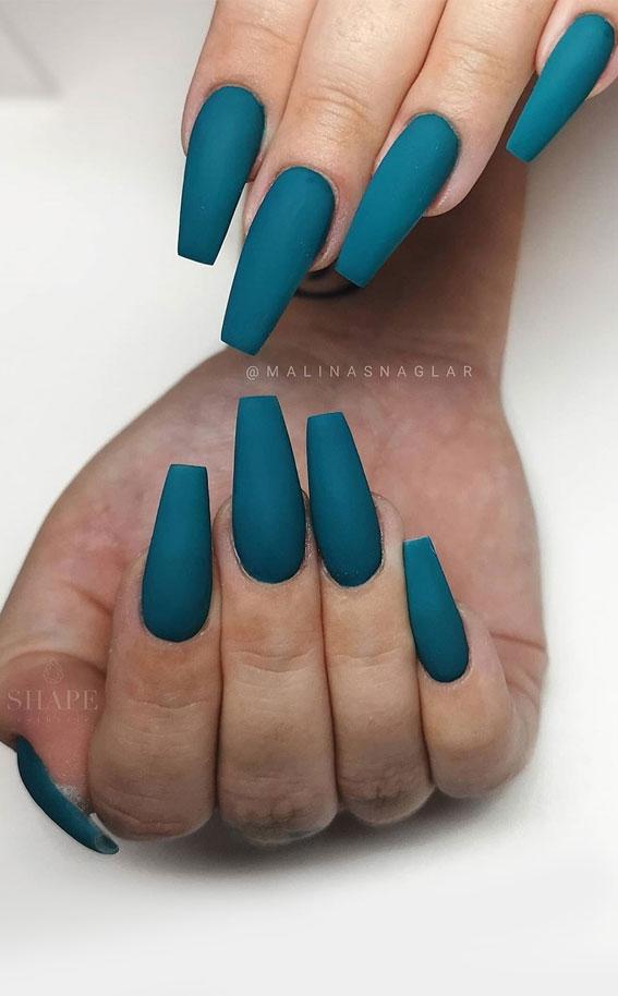 matte green teal nails, matte nail colors, matte nails, fall matte nails #nails #nailcolors #fallnails