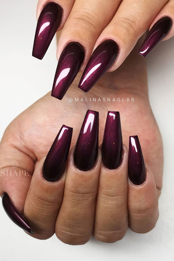 40 Beautiful Nail Design Ideas To Wear In Fall : Aubergine nail color