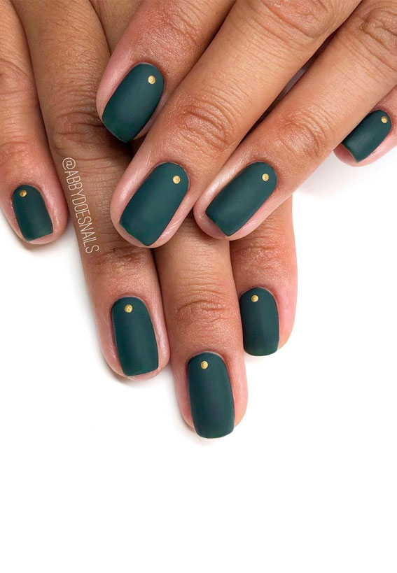 40 Beautiful Nail Design Ideas To Wear In Fall : Matte Teal Fall Nails with gold accents