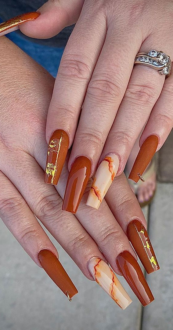 40 Beautiful Nail Design Ideas To Wear In Fall : Mix and Match Designs