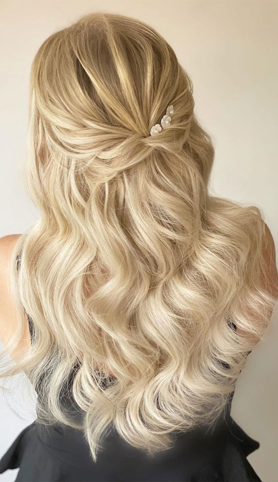 33 Romantic Half Up Half Down Hairstyles : Half up for blonde