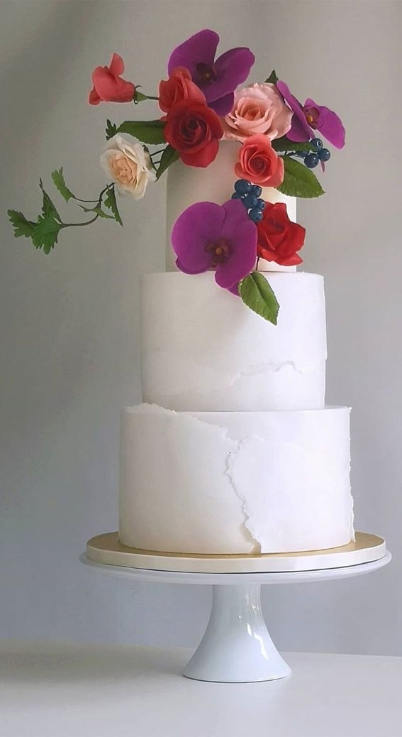 These 50 Beautiful Wedding Cake Designs You Will Be Blown Away : Colourful Blooms