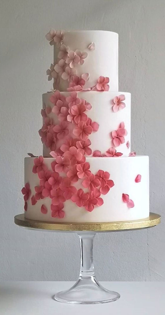 These 50 Beautiful Wedding Cake Designs You Will Be Blown Away : Ombre Cherry Blossom