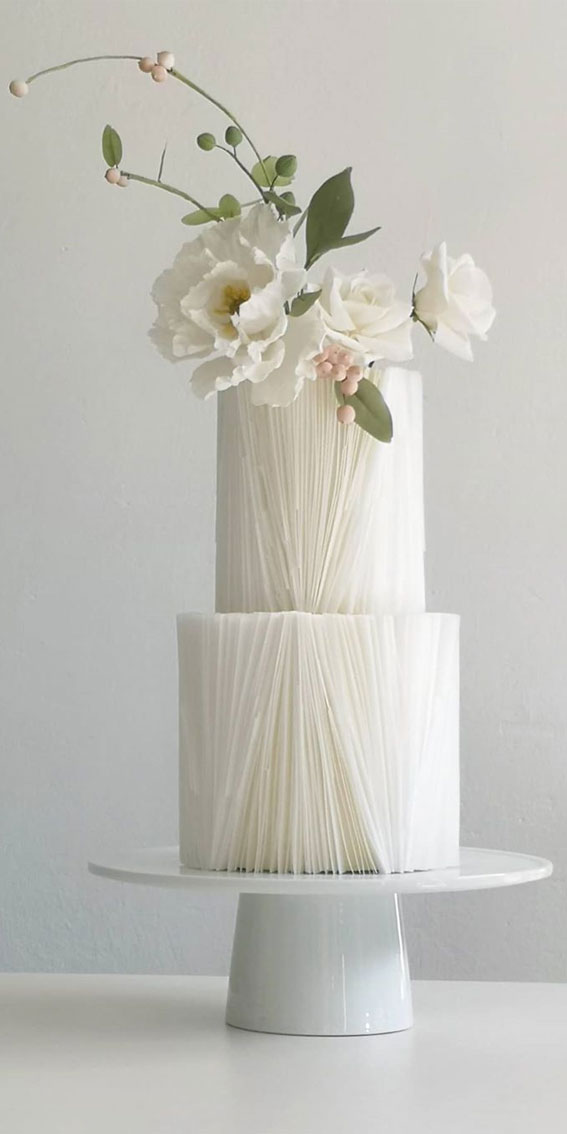 These 50 Beautiful Wedding Cake Designs You Will Be Blown Away : Monochromatic wedding cake