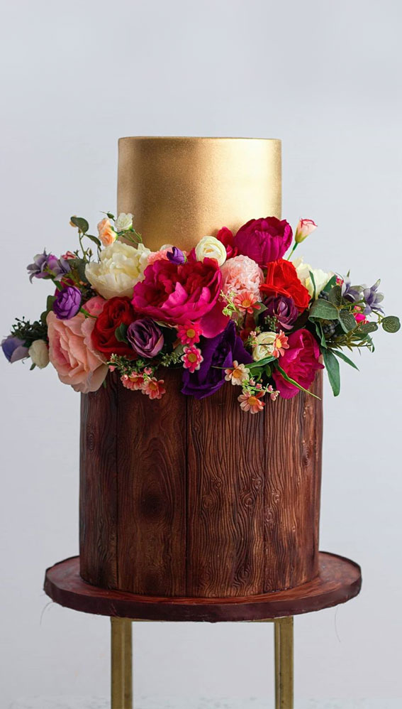 These 50 Beautiful Wedding Cake Designs You Will Be Blown Away : Beauty in Gold
