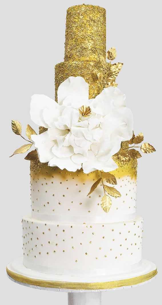 These 50 Beautiful Wedding Cake Designs You Will Be Blown Away : Gold Textured Wedding Cake