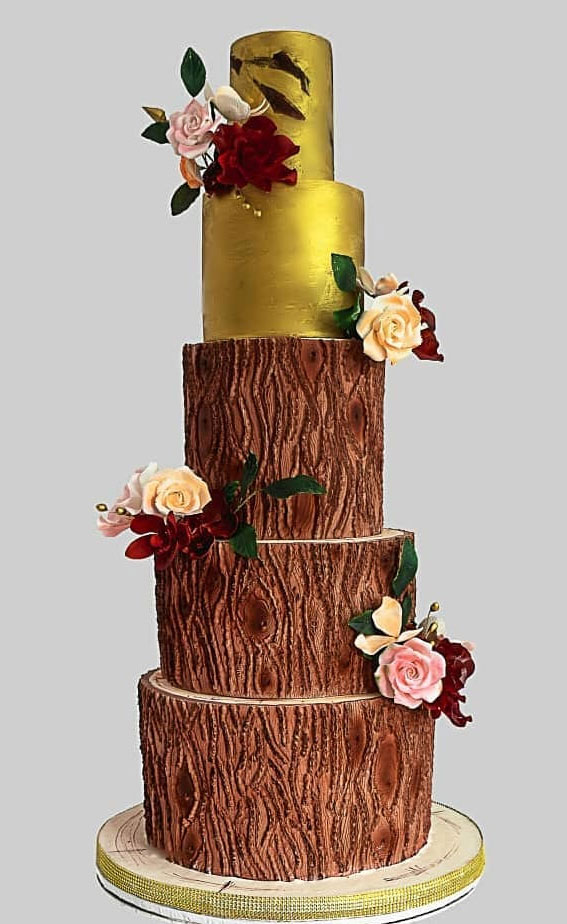 These 50 Beautiful Wedding Cake Designs You Will Be Blown Away : Gold and Tree Stump Cake
