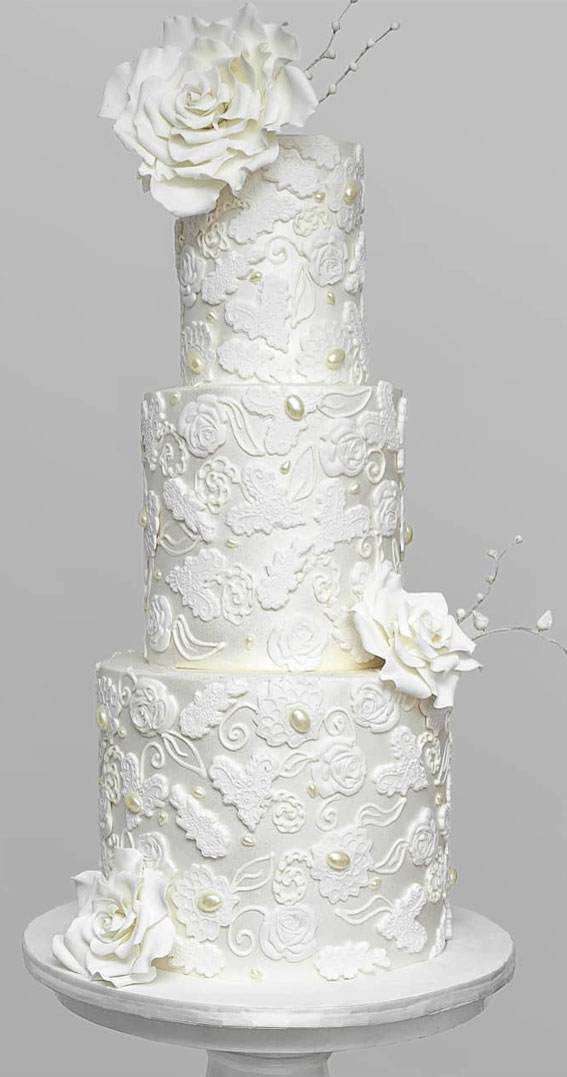These 50 Beautiful Wedding Cake Designs You Will Be Blown Away : Crisp and elegant white wedding cake