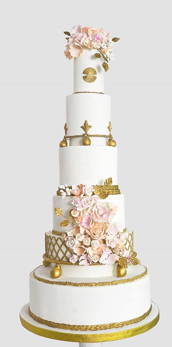 These 50 Beautiful Wedding Cake Designs You Will Be Blown Away : Gold and Pink Cake
