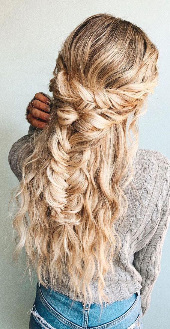 72 Braid Hairstyles That Look So Awesome : Twisted Half up & Fishtail