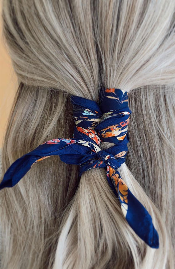 39 Pretty Ways Spice Up Your Boring Outfits With Hair Scarves – simple half up