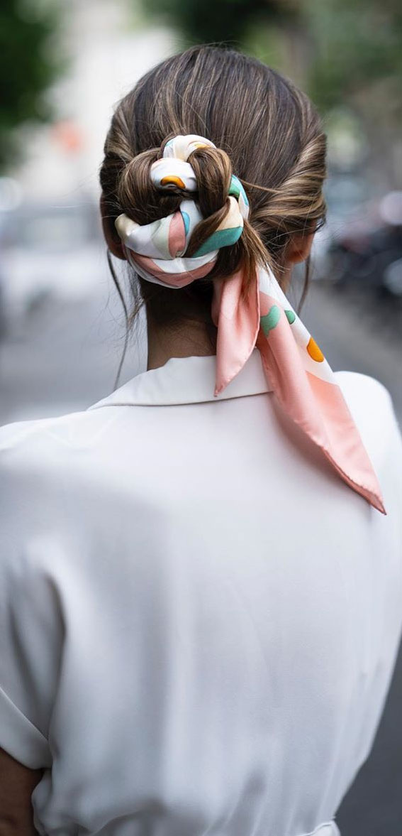 39 Pretty Ways Spice Up Your Boring Outfits With Hair Scarves – Braided updo with hair scarf
