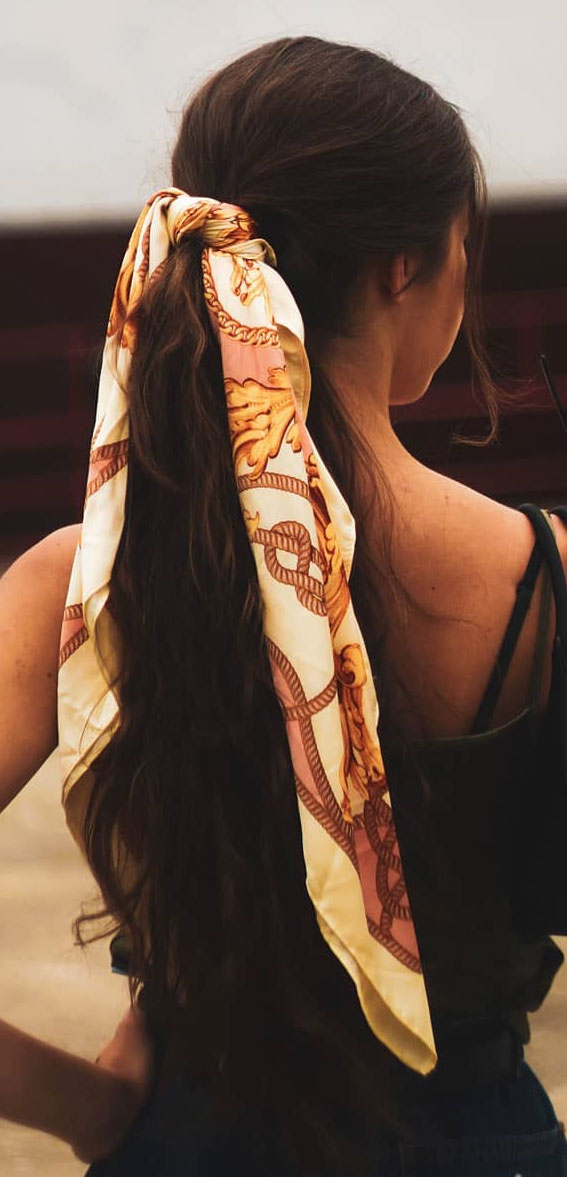 39 Pretty Ways Spice Up Your Boring Outfits With Hair Scarves – Ponytail