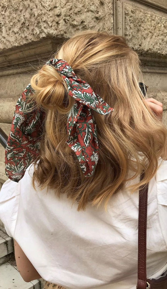 39 Pretty Ways Spice Up Your Boring Outfits With Hair Scarves –bHalf up with hair scarf