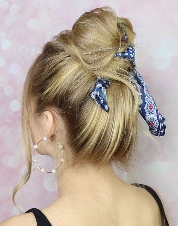 39 Pretty Ways Spice Up Your Boring Outfits With Hair Scarves – Cute High Bun