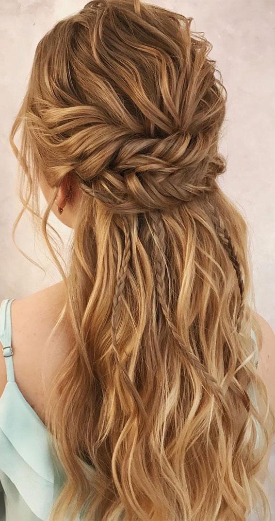 braided half up half down, half up half down braids, cute hairstyle, braided half up half down #braidedhalfuphalfdown #braids