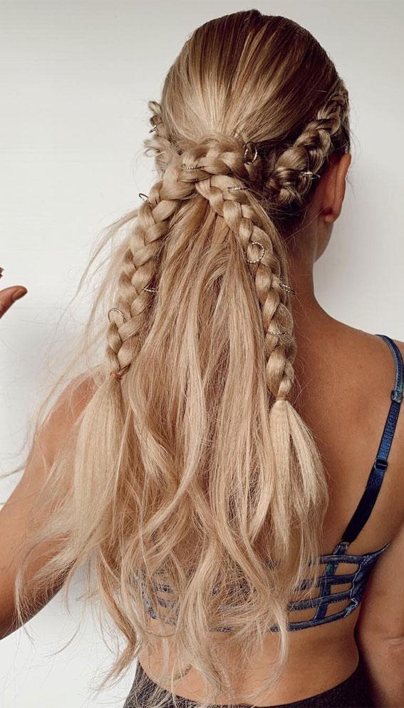 braided ponytails, ponytail braids, cute hairstyle, jumbo braid ponytail #braidedponytail #ponytailbraids