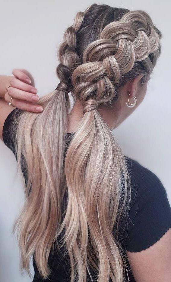 44 Beautiful Ways to Wear Braids This Season : Double dutch ponytails