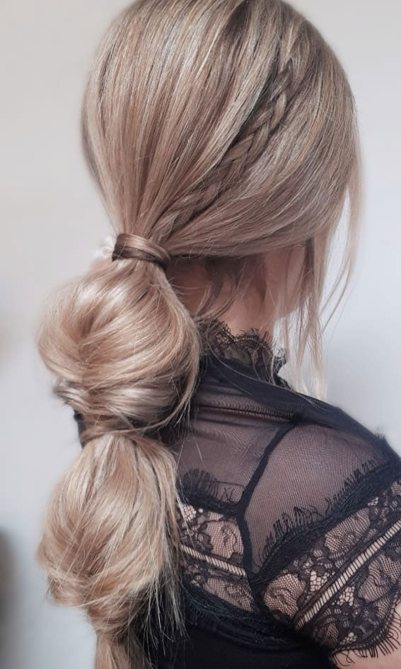 44 Beautiful Ways to Wear Braids This Season : Twisted ponytail with detail