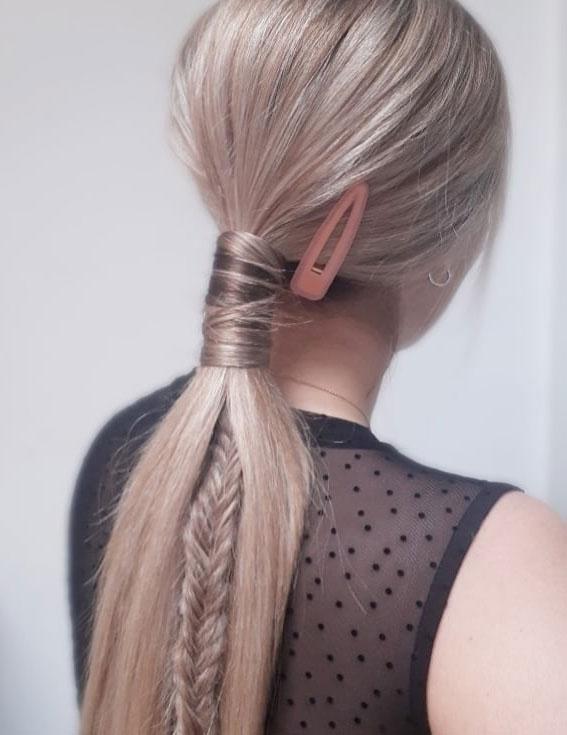 44 Beautiful Ways to Wear Braids This Season : Ponytail + Fishtail braid