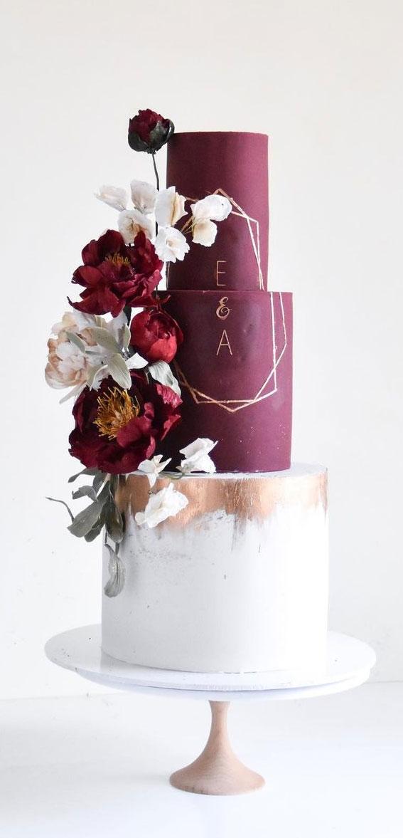 41 Best Wedding Cake Styles For Your Big Day : Burgundy Wedding cake