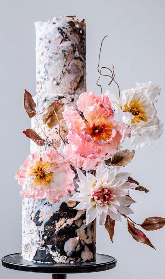 black and white wedding cake, marble wedding cake , textured wedding cake #weddingcake #weddingcakedesigns