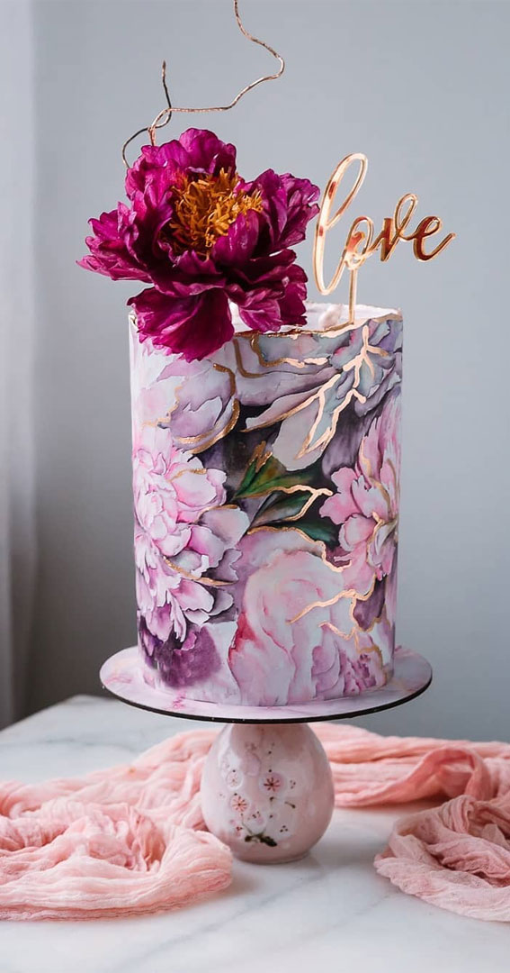41 Best Wedding Cake Styles For Your Big Day : Burgundy Peony on wedding cake