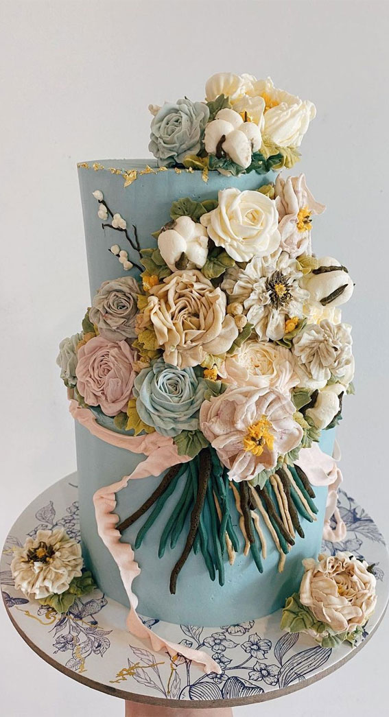 41 Best Wedding Cake Styles For Your Big Day : Blue buttercream Pink ribbon