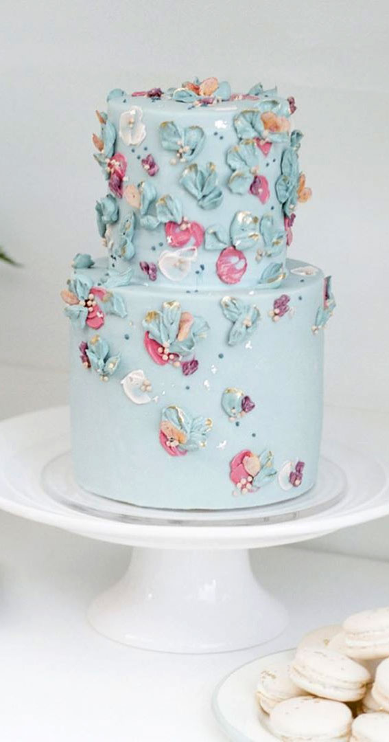 41 Best Wedding Cake Styles For Your Big Day : shades of blue and mauve