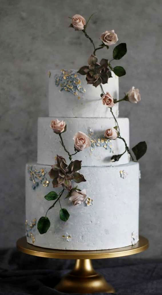 41 Best Wedding Cake Styles For Your Big Day : Textured blue wedding cake