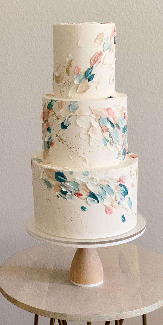 41 Best Wedding Cake Styles For Your Big Day : Pastel brushstrokes