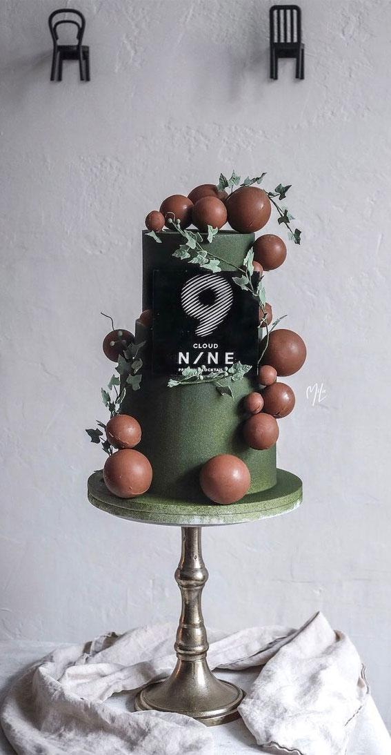 54 Jaw-Droppingly Beautiful Birthday Cake : Green Cake
