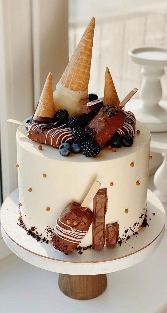54 Jaw-Droppingly Beautiful Birthday Cake : White smooth cake