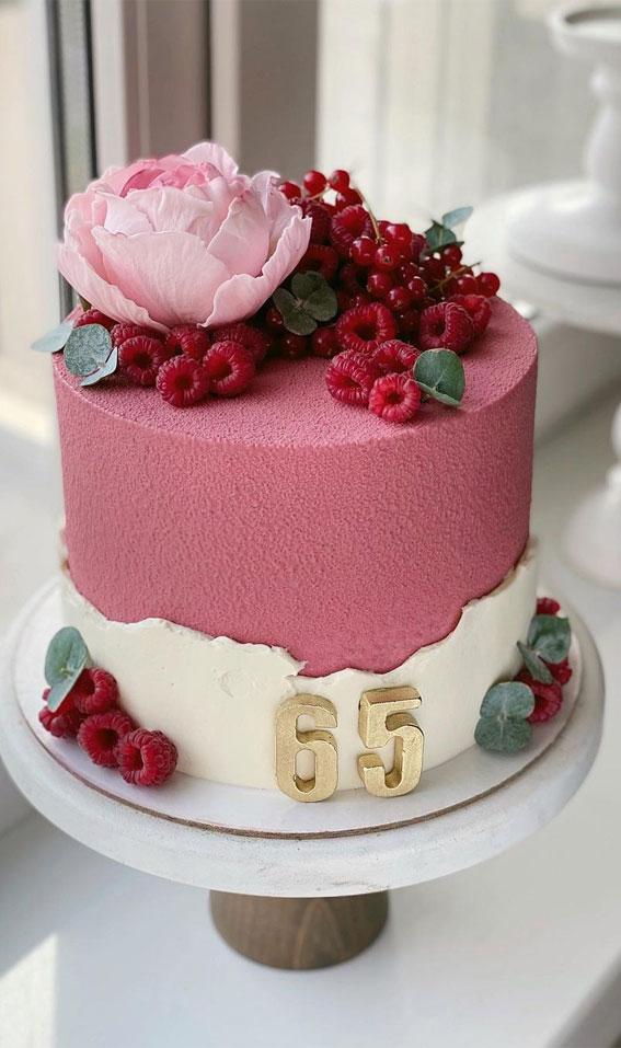 54 Jaw-Droppingly Beautiful Birthday Cake : Berry tone