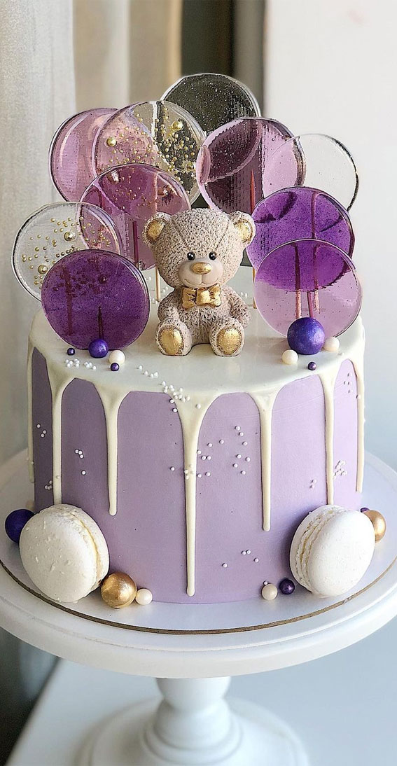 49 Cute Cake Ideas For Your Next Celebration : Lavender cake & white icing